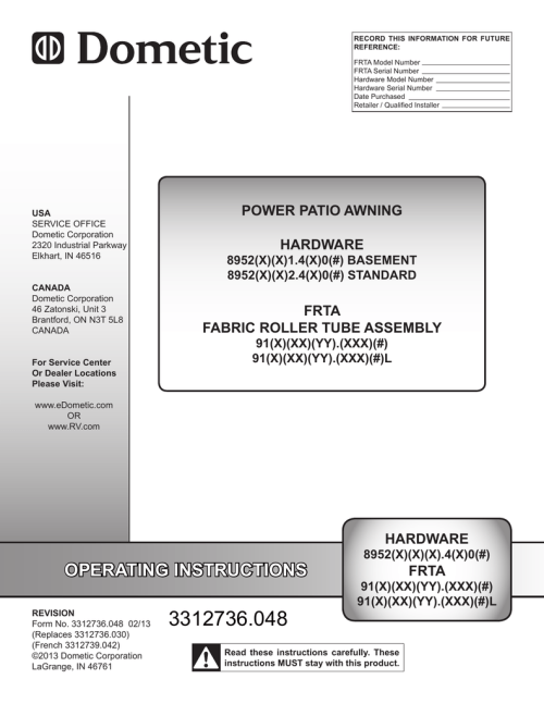 small resolution of dometic 9100 power awning manual
