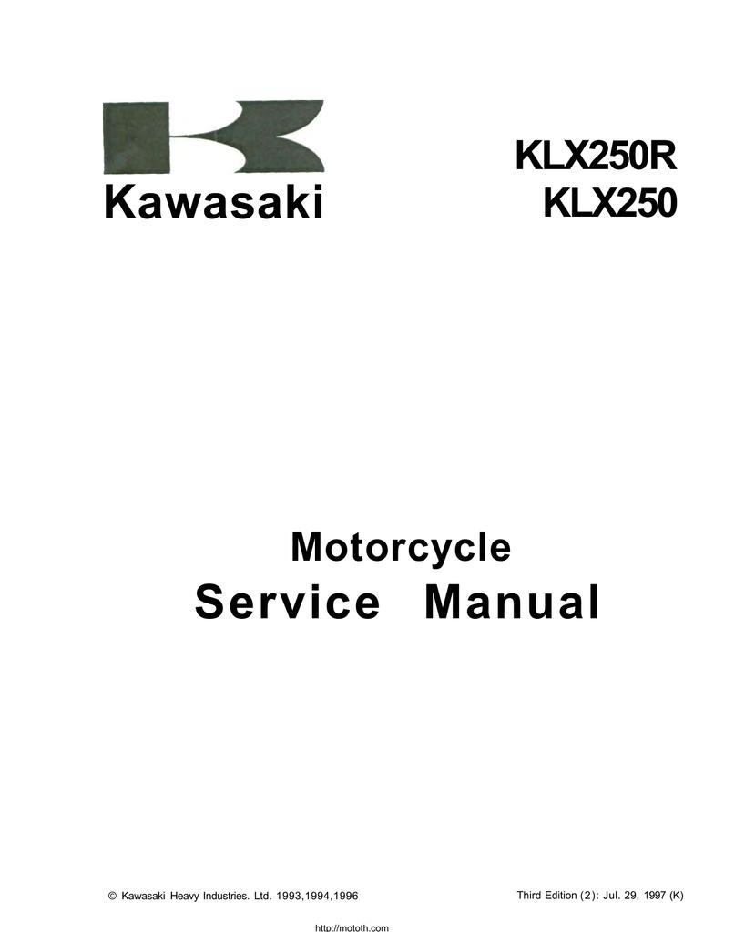 1993 Kawasaki Motorcycle Klx250r Klx250 Service Manual Pn