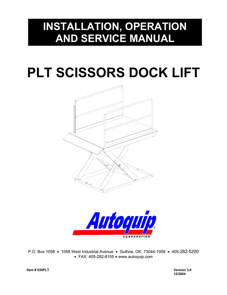 PLT Scissors Dock Lift Installation, Operation and Service