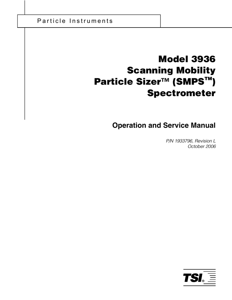 Model 3936 Scanning Mobility Particle Sizer (SMPS