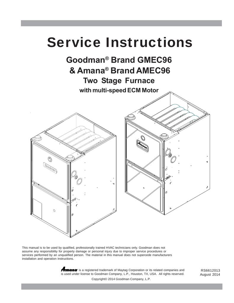 medium resolution of goodman gmec96 service instructions