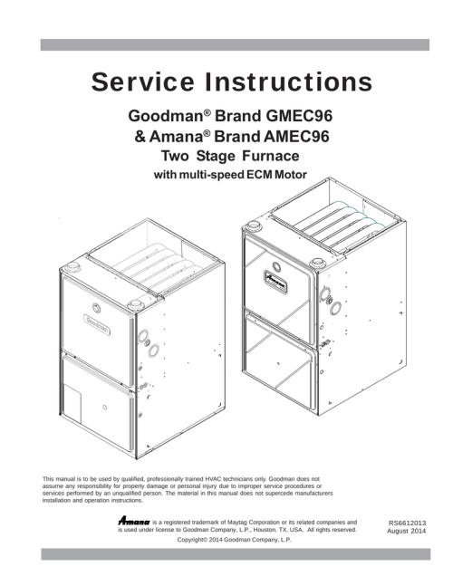 small resolution of goodman gmec96 service instructions