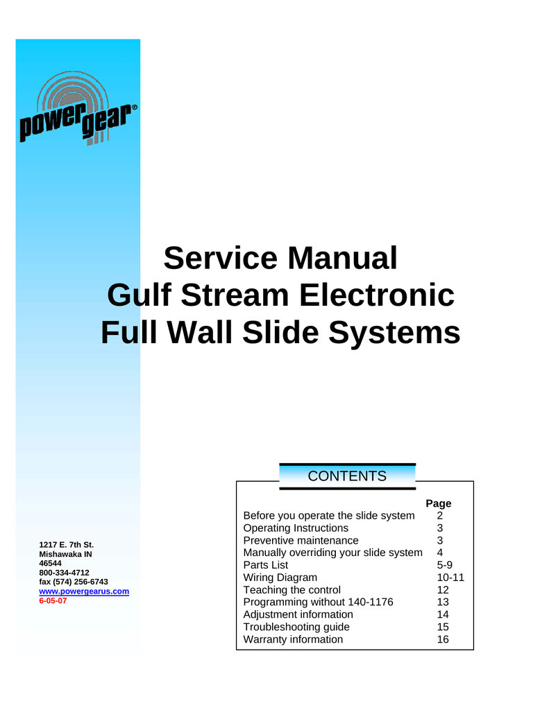 hight resolution of full wall slide out service manual