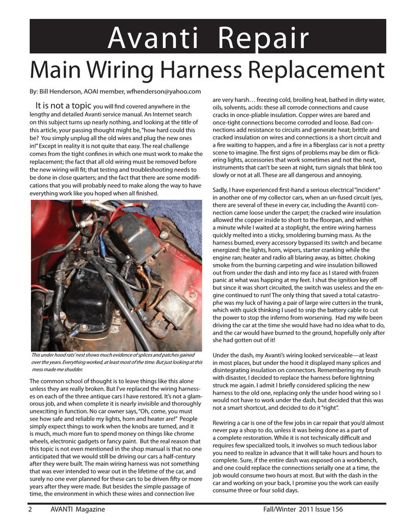 medium resolution of avanti wiring harness article indd bob s studebaker