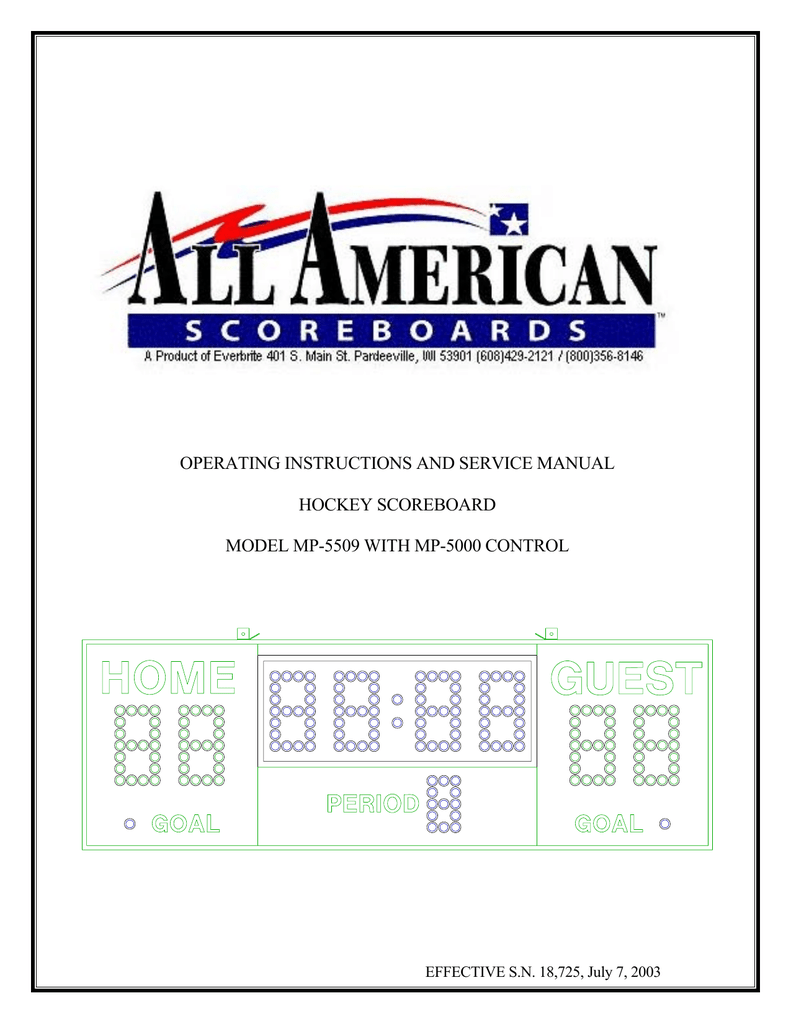 hight resolution of operating instructions and service manual hockey scoreboard model