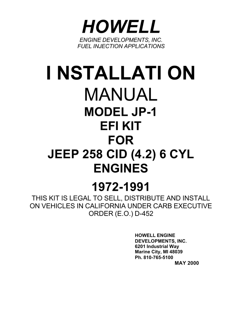 medium resolution of i nstallati on howell engine developments inc