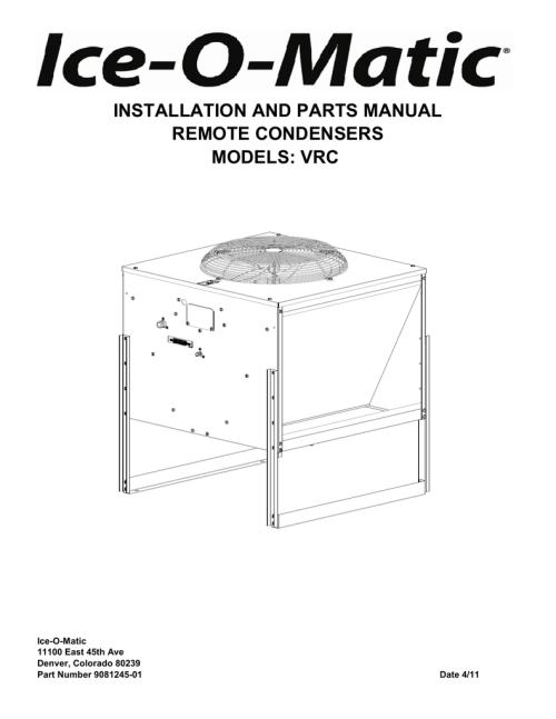 small resolution of vrc remote condenser parts manual ice o