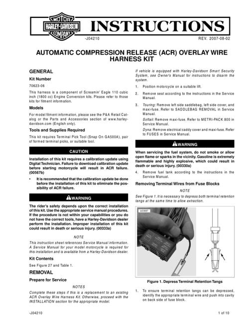 small resolution of automatic compression release acr overlay wire harley