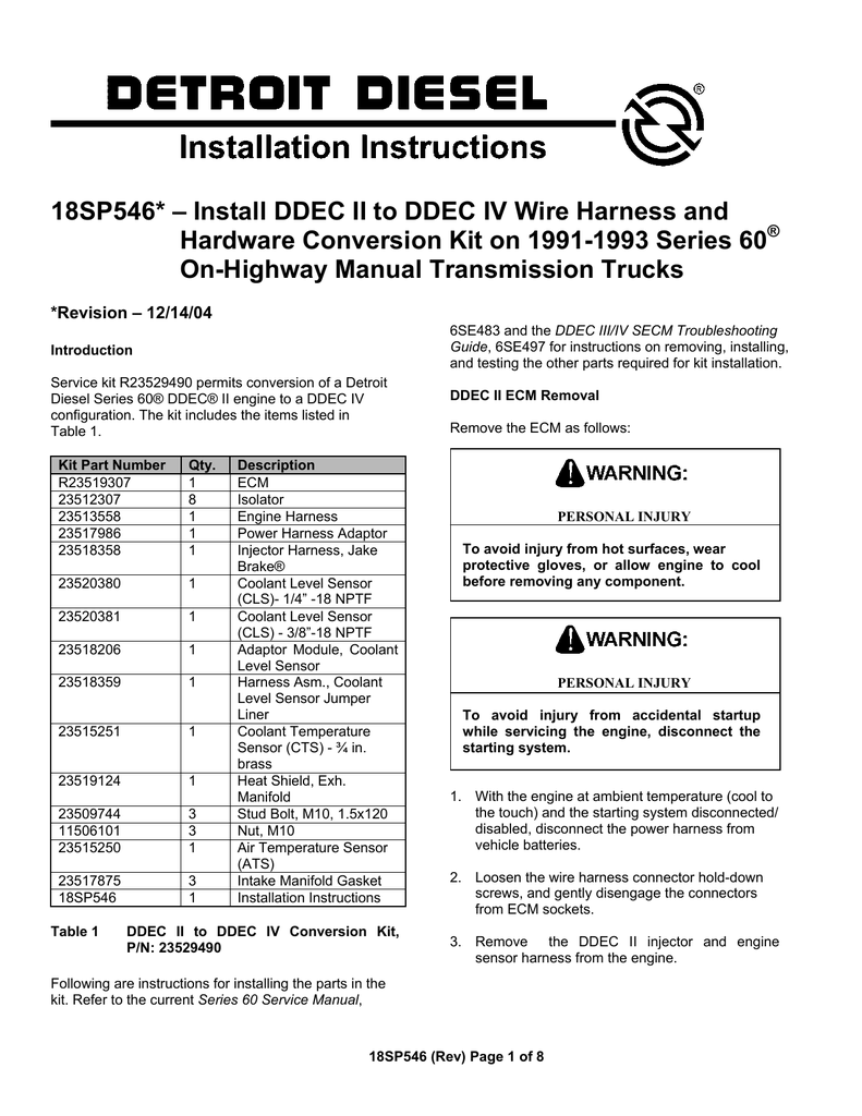medium resolution of 18sp546 install ddec ii to ddec iv wire harness and hardware conversion kit on 1991 1993 series 60 on highway manual transmission trucks revision
