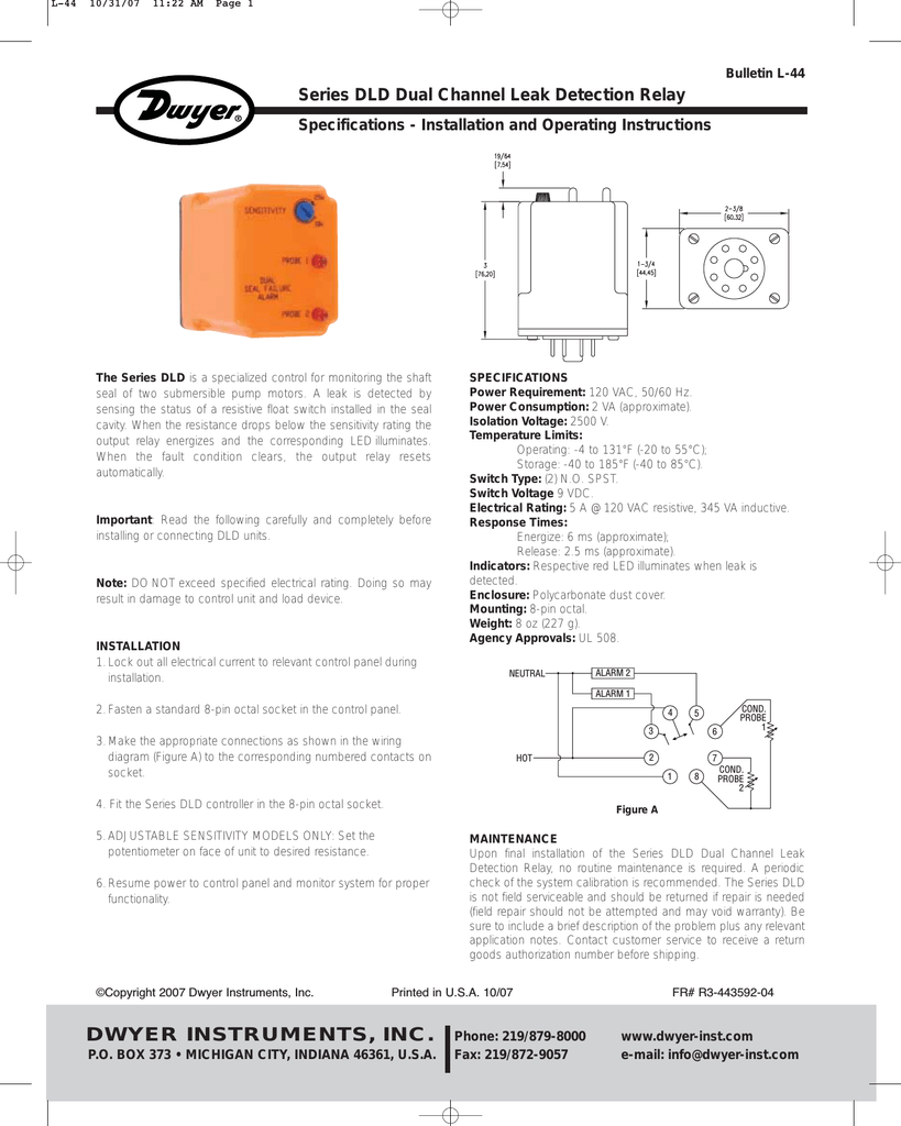 hight resolution of l 44 10 31 07 11 22 am page 1 bulletin l 44 series dld dual channel leak detection relay specifications installation and operating instructions the series