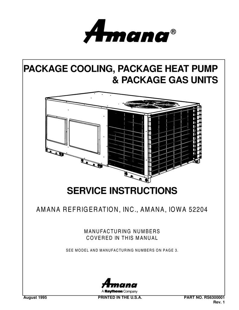 hight resolution of package unit service manual