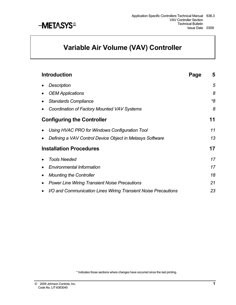 hight resolution of variable air volume vav controller technical bulletin