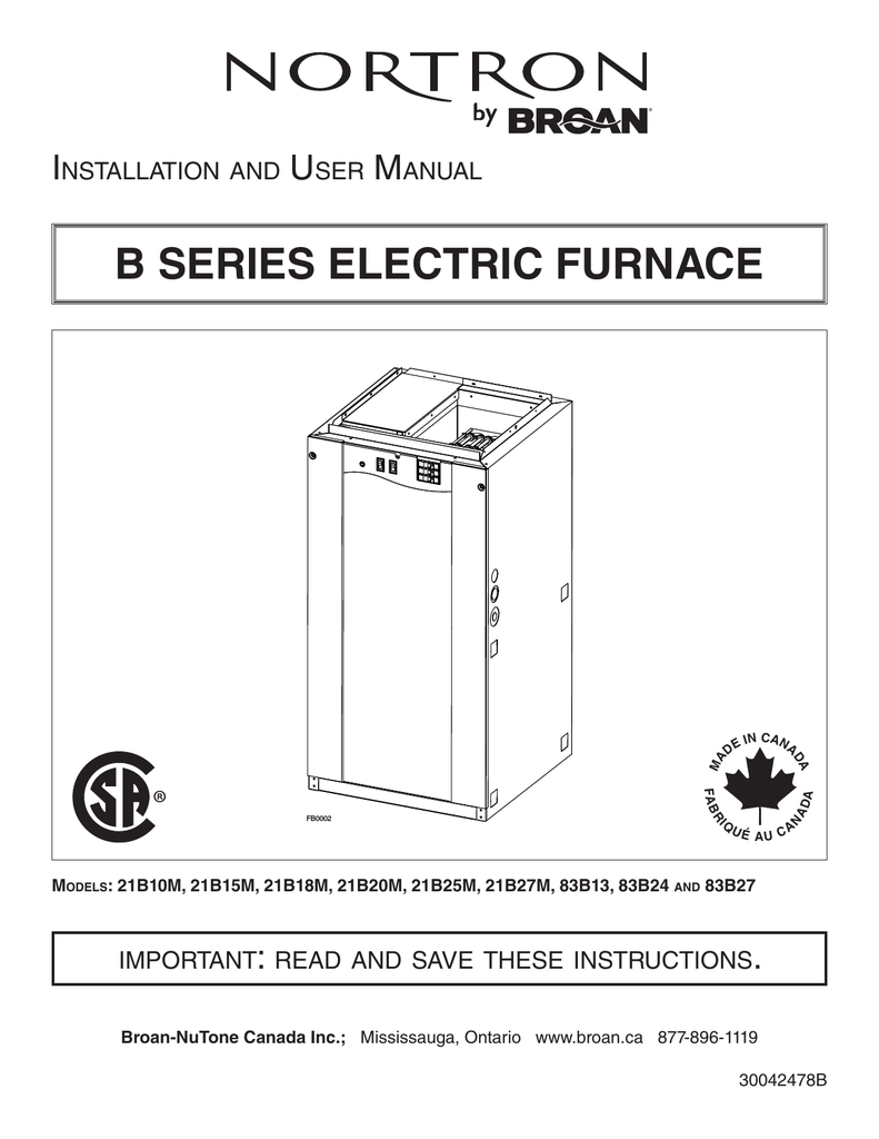 hight resolution of b series electric furnace 30042478b indd