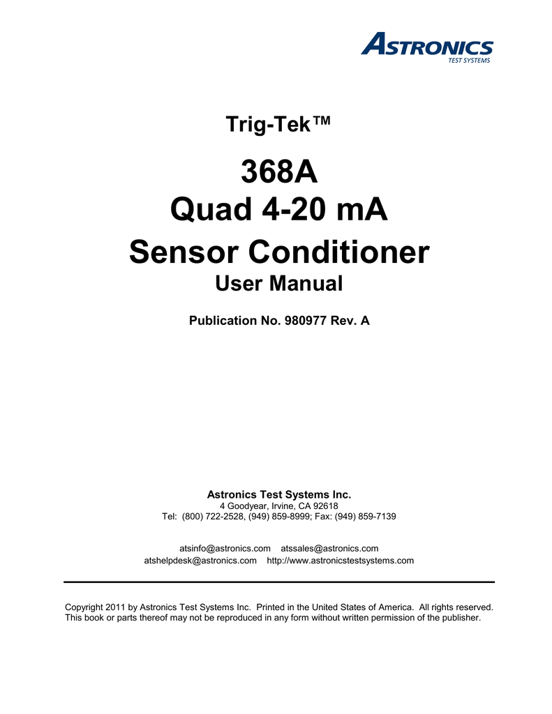Trig-Tek™ 368A Quad 4-20 mA Sensor Conditioner User Manual