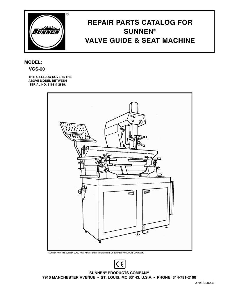 repair parts catalog for sunnen® valve guide & seat