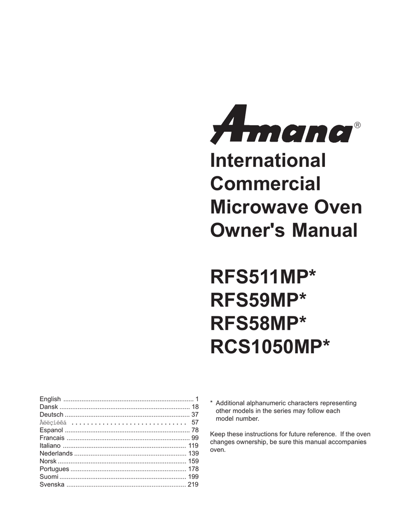 International Commercial Microwave Oven Owner`s Manual
