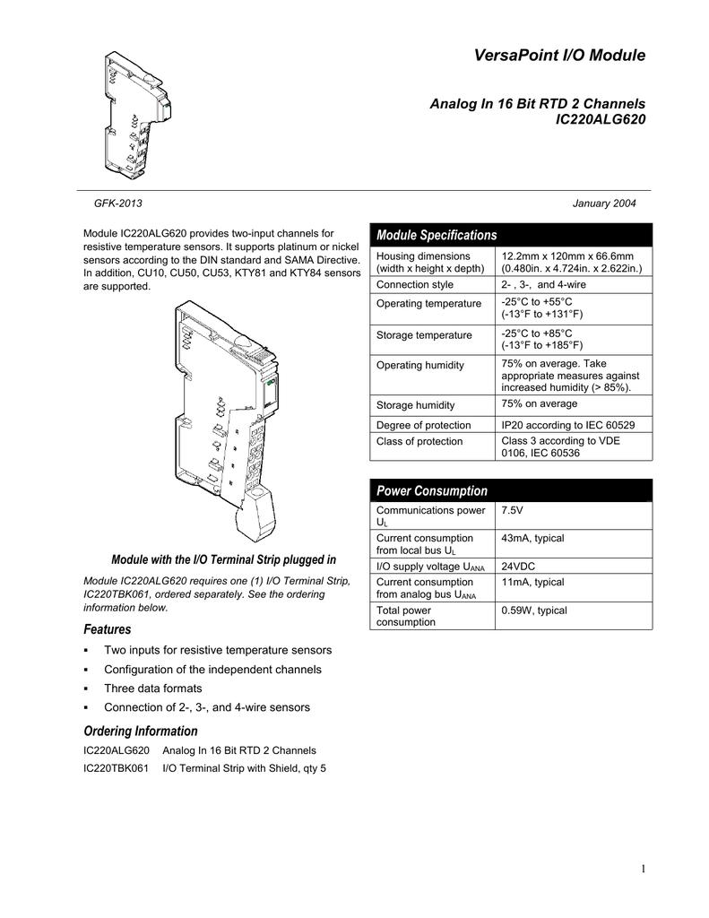ersaPoint RTD Analog Input Module IC220ALG620, GFK-2013