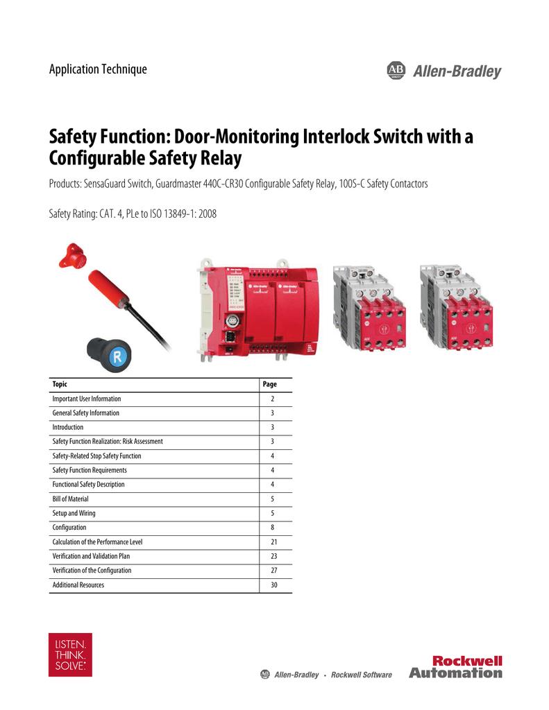 medium resolution of safety function door monitoring interlock switch