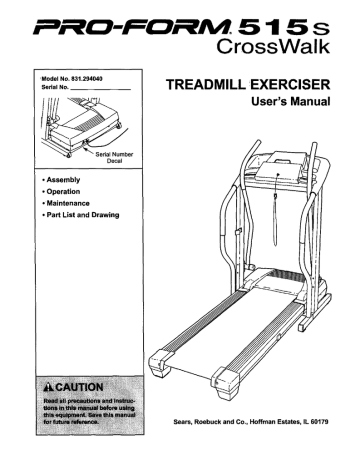 Pro-Form 515 s CrossWalk, Crosswalk Performance LX, 831