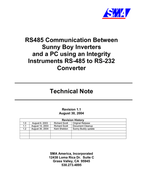 small resolution of rs485 communication between sunny boy inverters and a pc