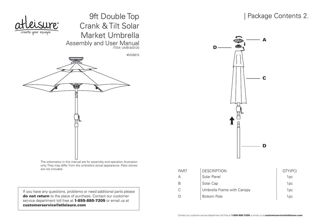 9ft double top crank tilt solar