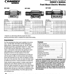 ramsey winch company owner s manual front mount electric [ 791 x 1024 Pixel ]