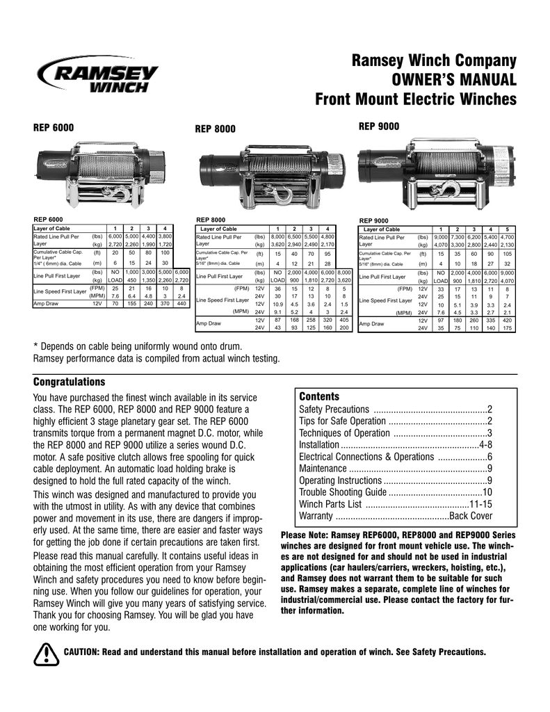 hight resolution of ramsey winch company owner s manual front mount electric