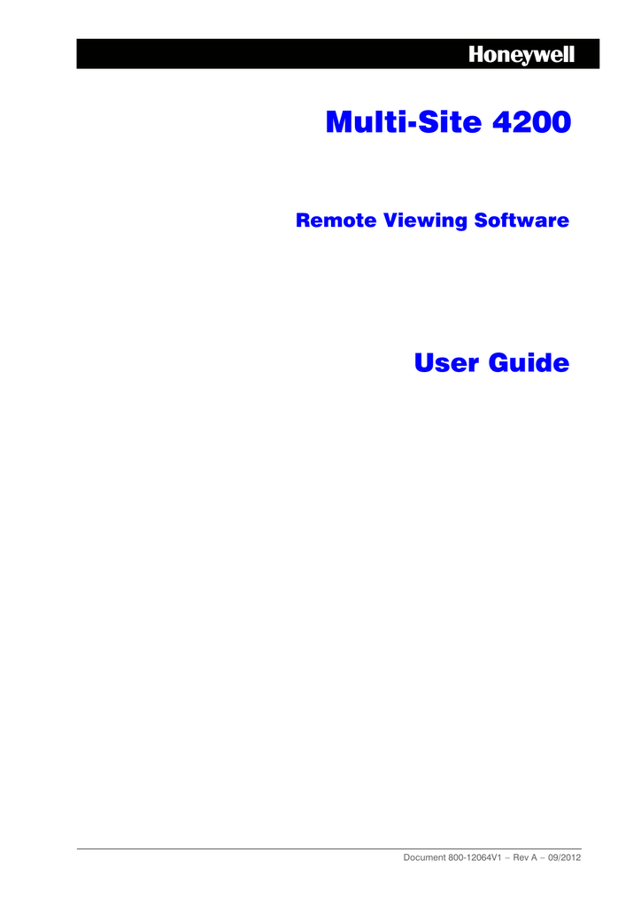 Multi Site 4200 Remote Viewing Software User Guide