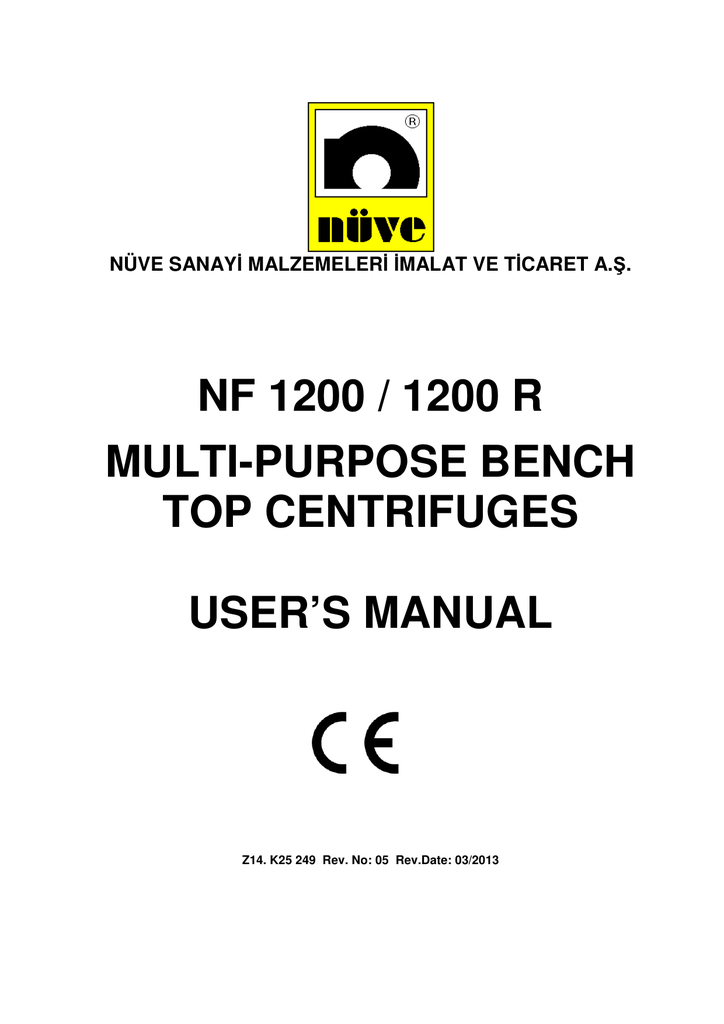 nf 1200 / 1200 r multi-purpose bench top centrifuges user