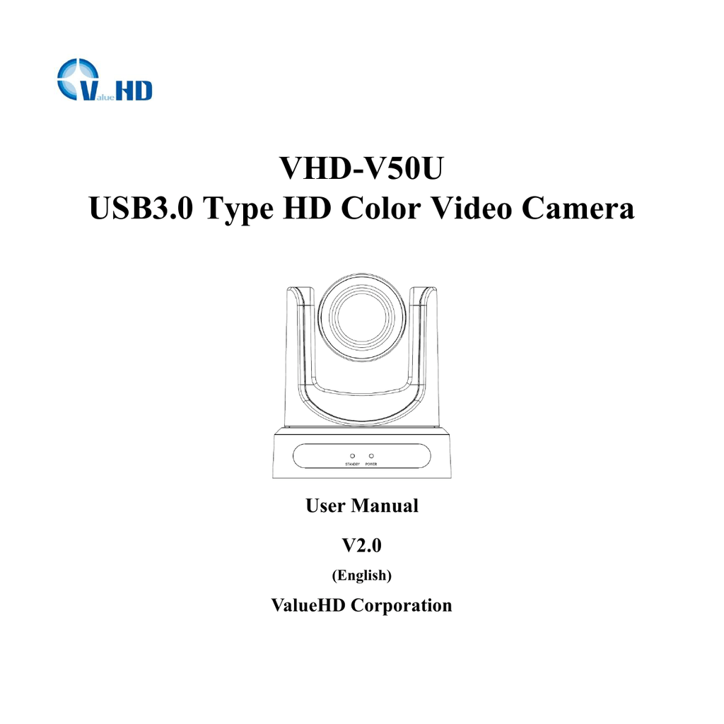 VHD-V50U USB3.0 Type HD Color Video Camera User Manual V2