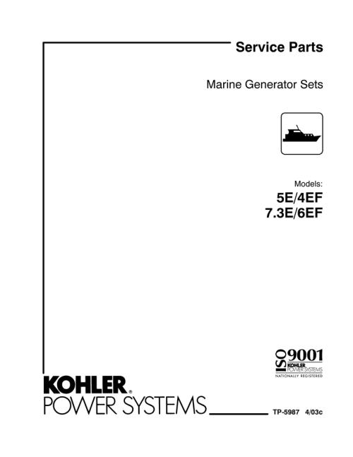 small resolution of parts manual 4 6ef 5 7 3 e tp 5987 manualzz com kohler 5e marine engine wiring harness diagram