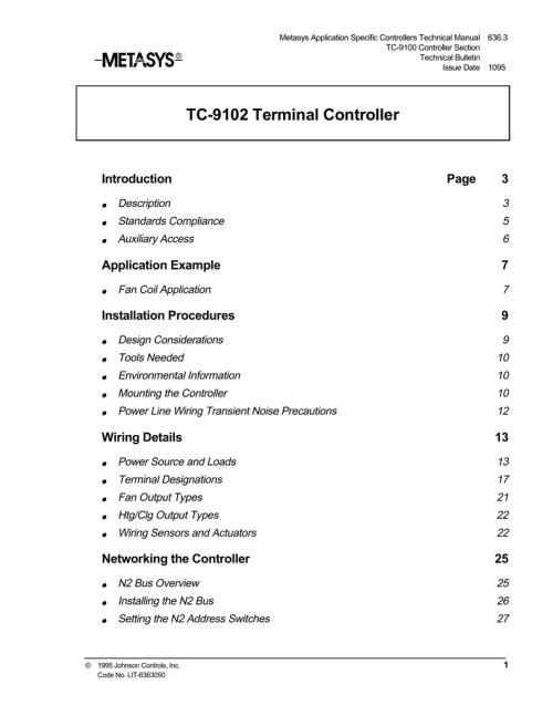 small resolution of tc 9102 terminal controller manualzz com 9102 metasys tc wiring diagram