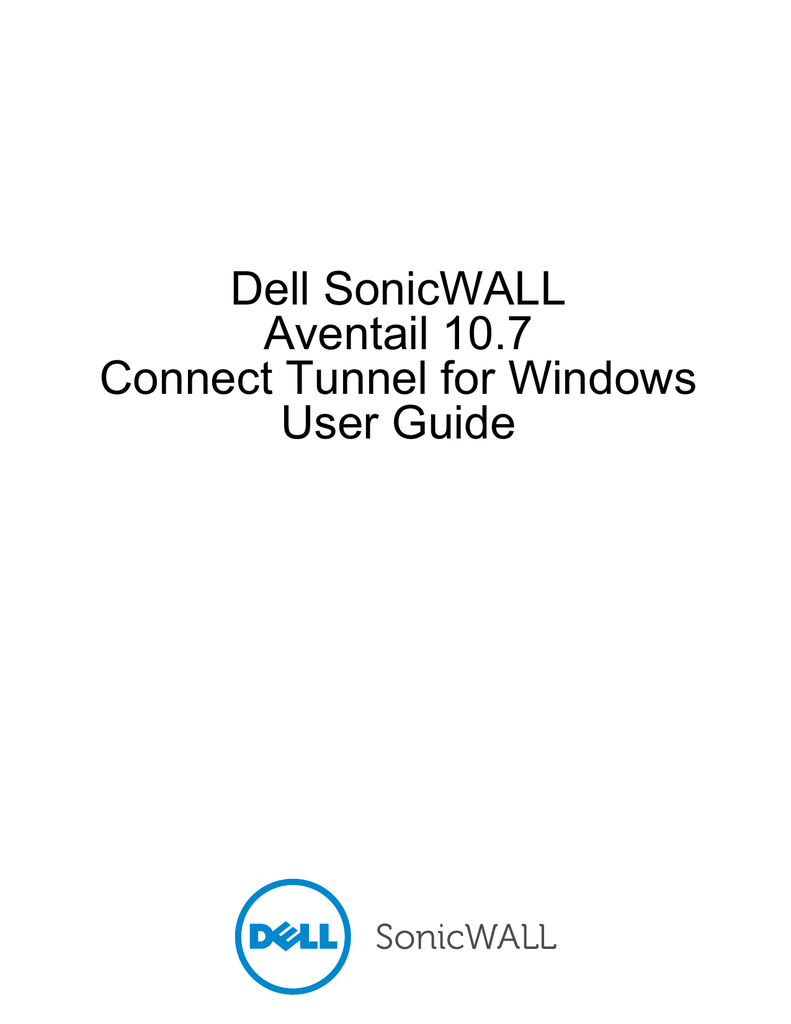 Dell SonicWALL Aventail 10.7 Connect Tunnel for Windows