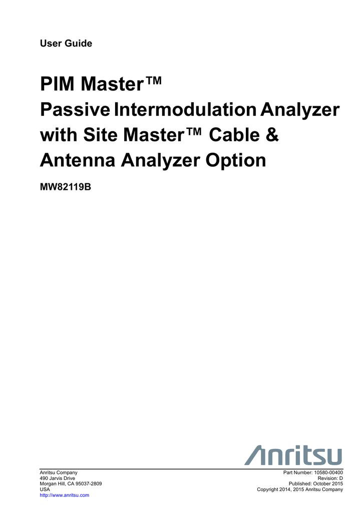 PIM Master Passive Intermodulation Analyzer with Site