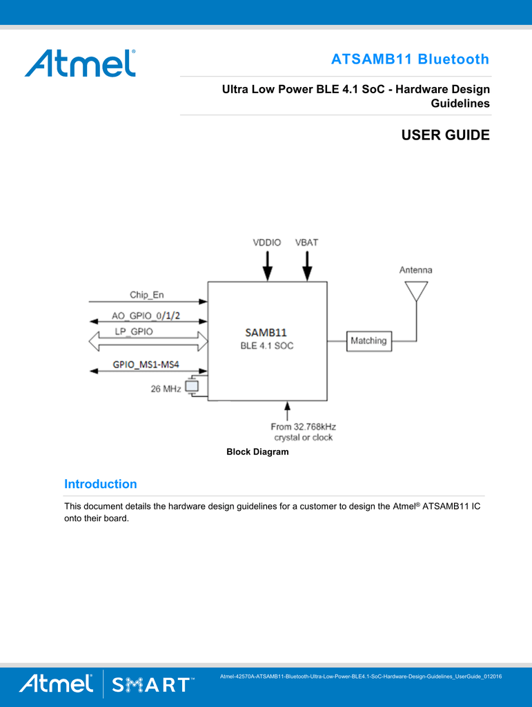 hight resolution of atsamb11 bluetooth ultra low power ble 4 1 soc manualzz com figure 1 block diagram of a complete atmelbluetooth solution