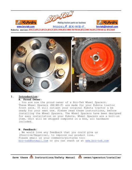 small resolution of kubota bx front wheel spacer instruction bro tek