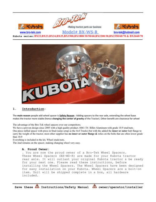 small resolution of kubota bx rear wheel spacer instruction pdf bro tek
