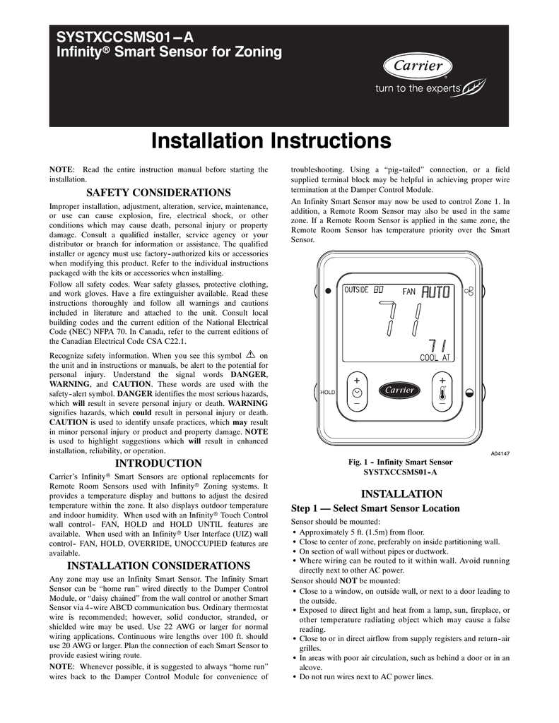 medium resolution of carrier infinity smart sensor control model systxccsms01 installation instructions