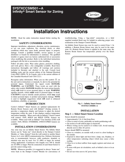 small resolution of carrier infinity smart sensor control model systxccsms01 installation instructions