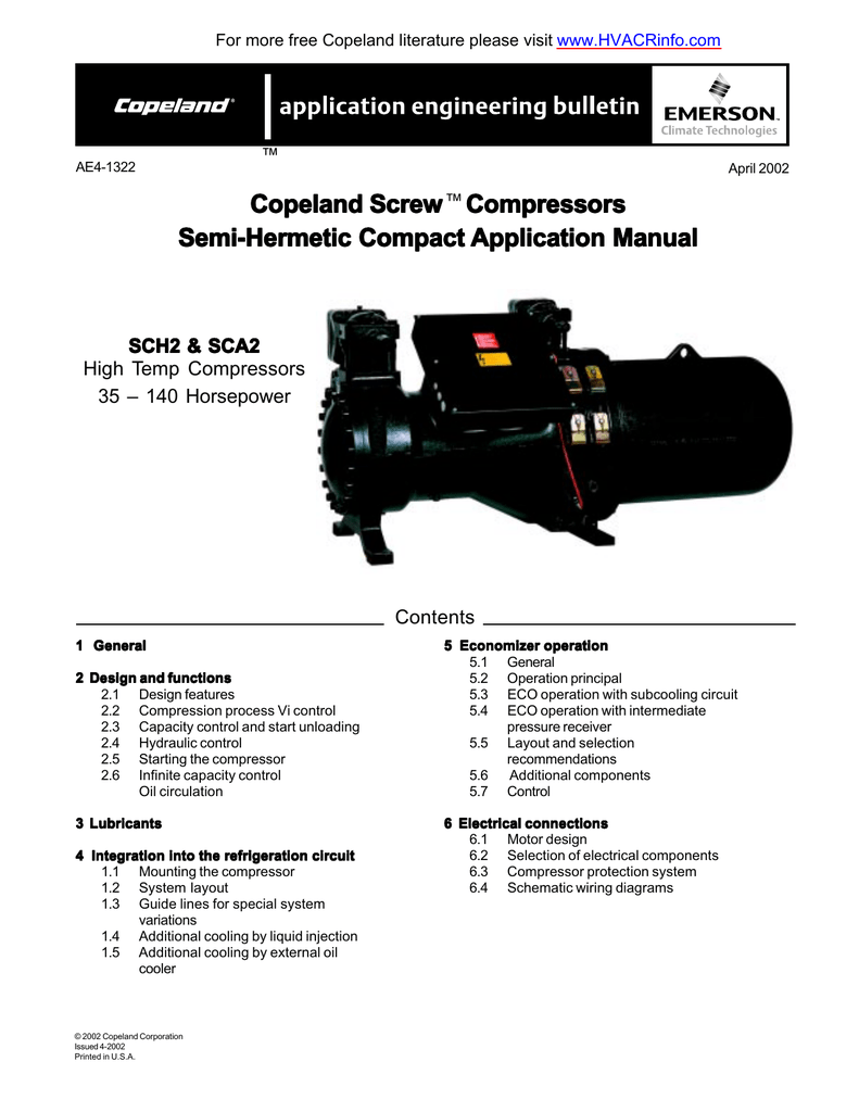 medium resolution of for more free copeland literature please visit www hvacrinfo com ae4 1322 april 2002 copeland screw compressors semi hermetic compact application manual