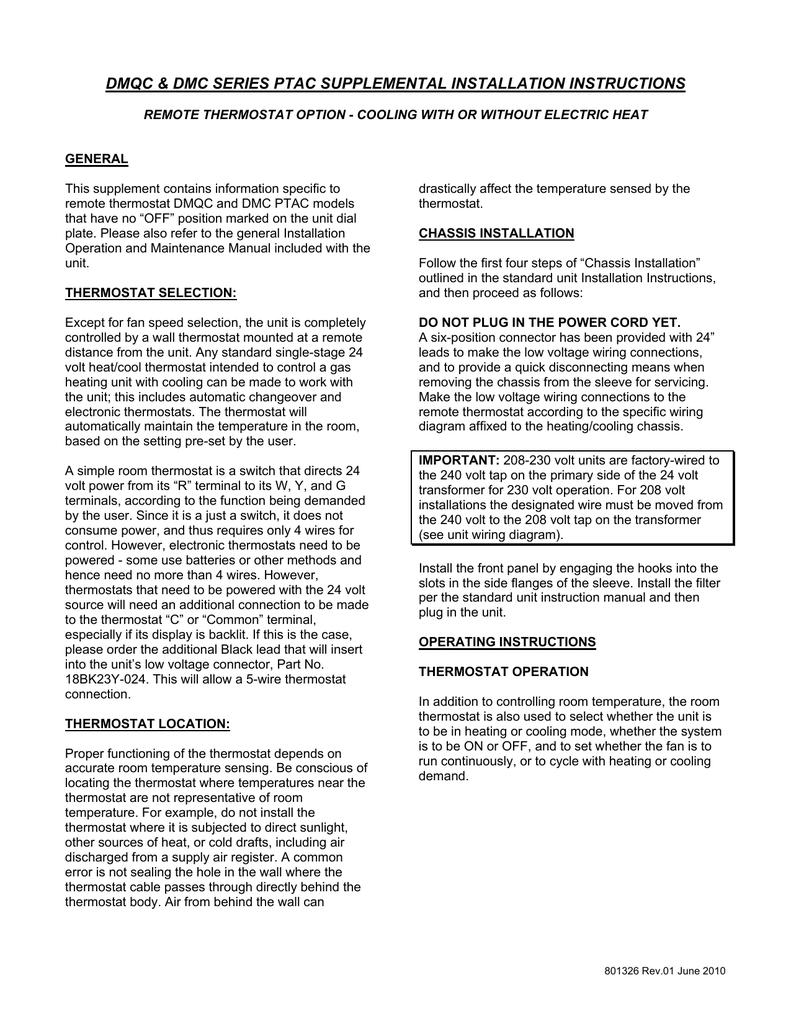 medium resolution of dmqc dmc series ptac supplemental installation instructions manualzz com
