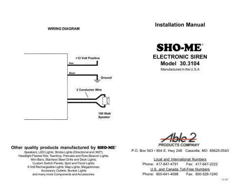 small resolution of sho me installation manual electronic siren model 30 3104