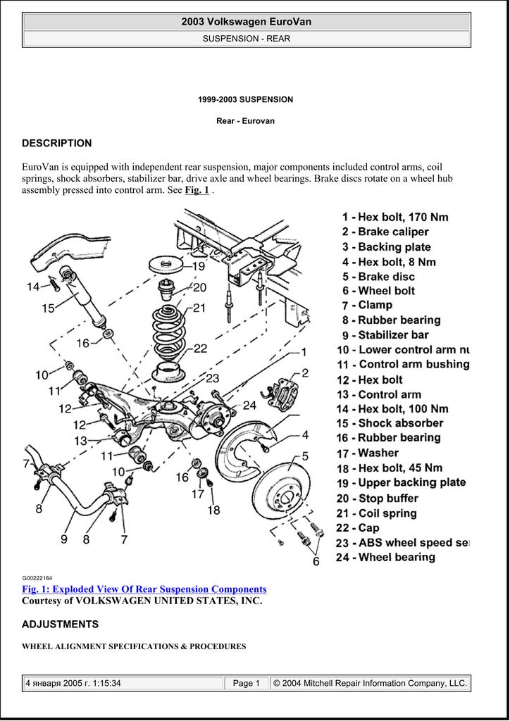 Volkswagen EuroVan (T4) 1999-2003: Rear suspension (eng