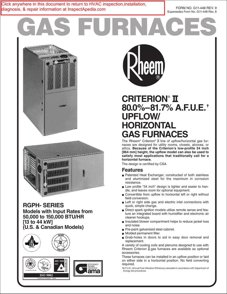 hight resolution of installation manual for rheem gas furnaces criterian ii