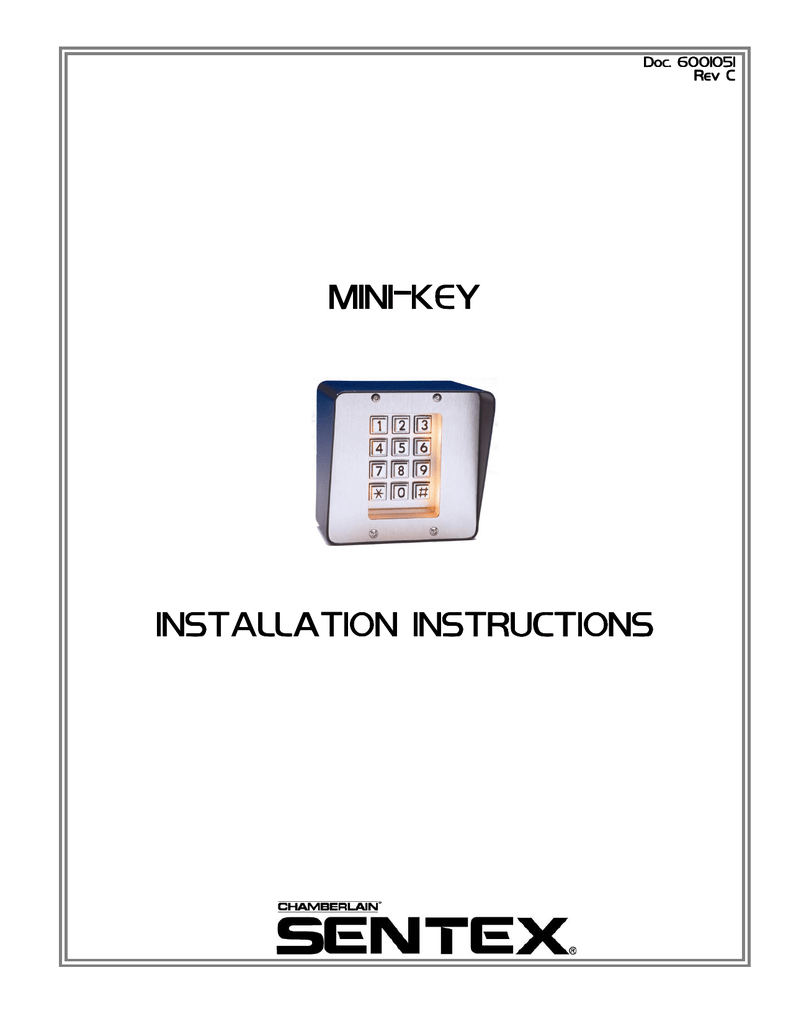 Sentex MiniKey Self Contained Keypad System for Door and