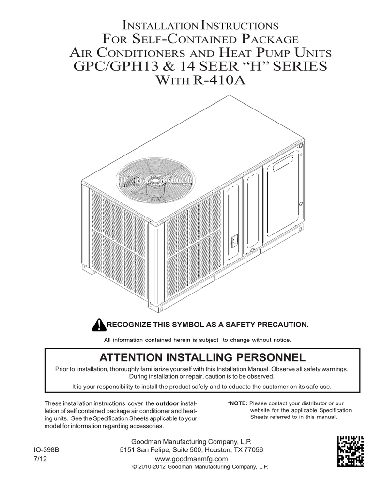 hight resolution of goodman installation manual