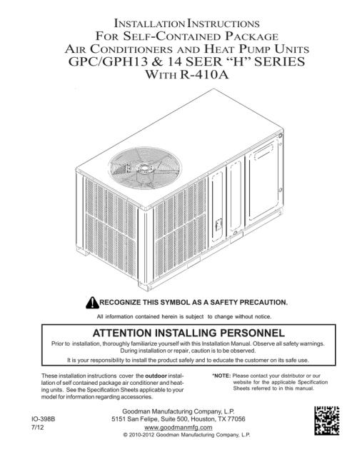 small resolution of goodman installation manual