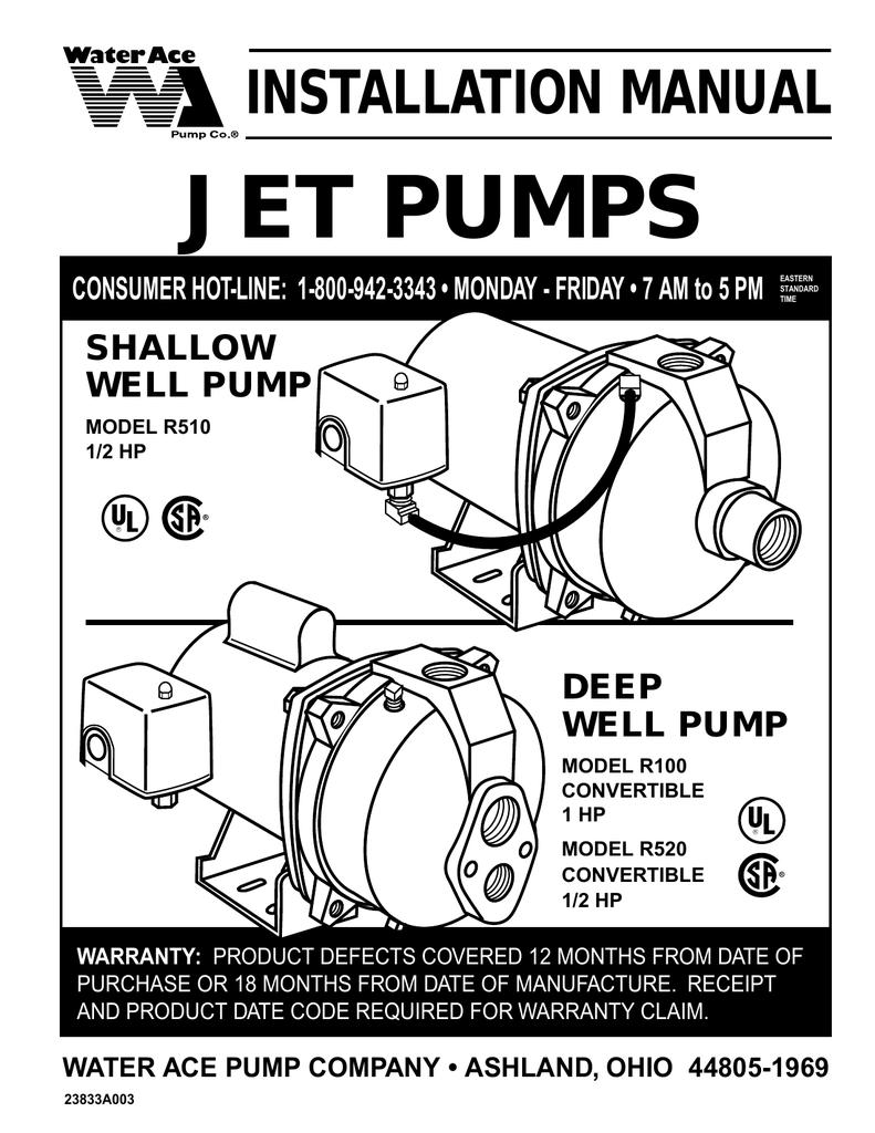 hight resolution of water ace jet pump installation manual manualzz com rh manualzz com shallow well jet pump installation