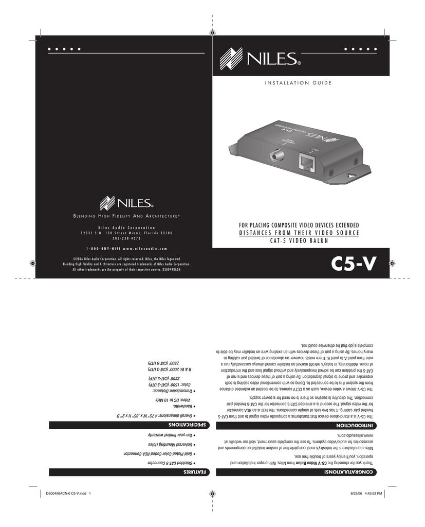 medium resolution of niles c5 v cat5 composite video balun installation guide 381kb pdf