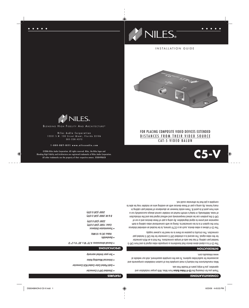 hight resolution of niles c5 v cat5 composite video balun installation guide 381kb pdf